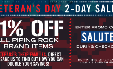 Piping Rock Veteran's Day Sale