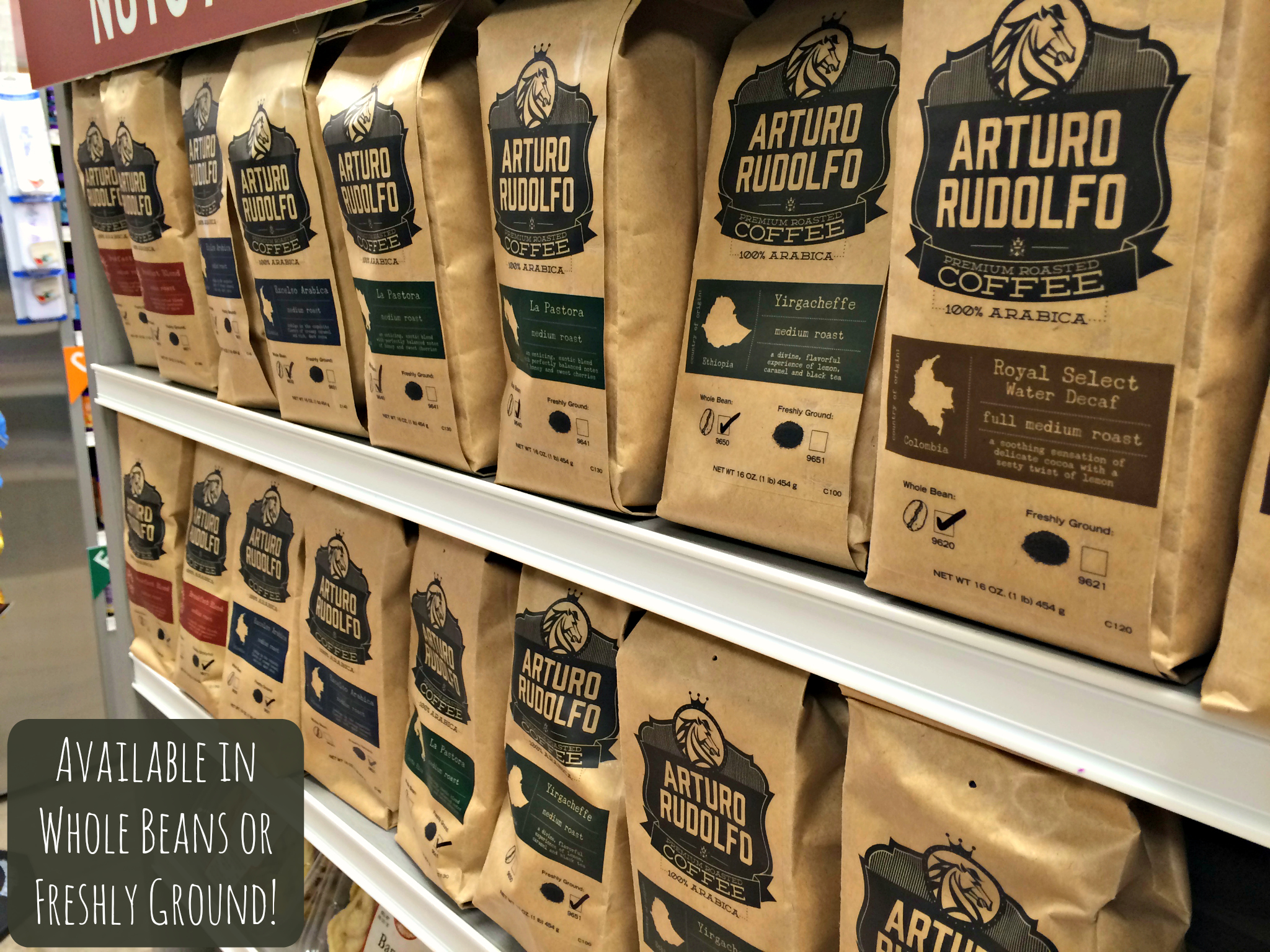 Piping Rock Arturo Rudolfo Coffee Collection - Decaf or Non, Ground or Whole Beans