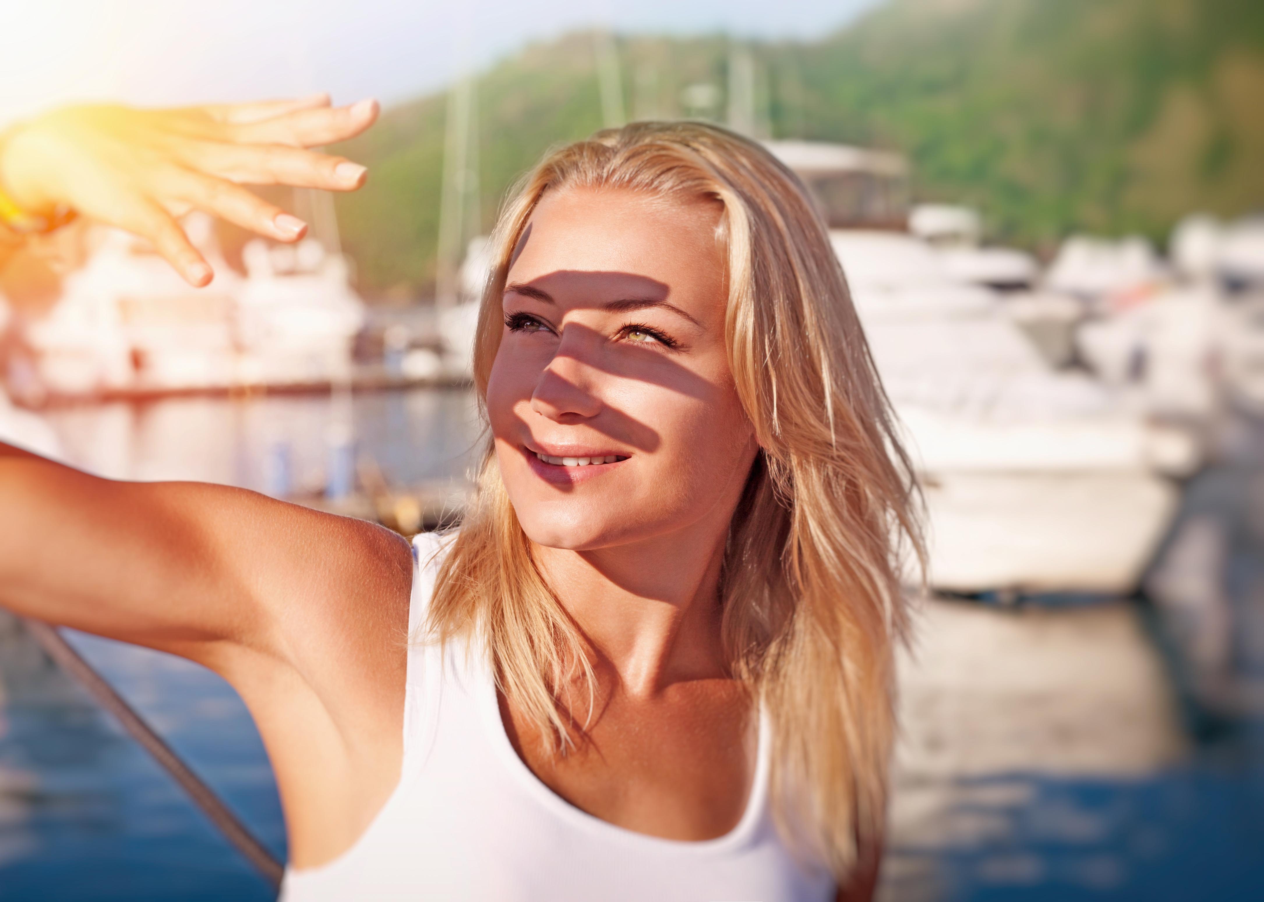 shielding eyes from sun -- eye health