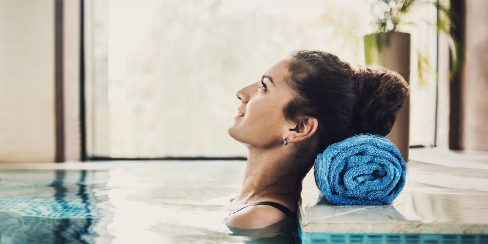 Woman taking Spa Bath