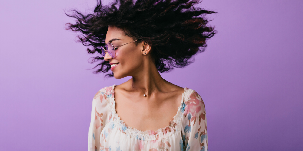 Woman Whipping Her Hair (purple background)